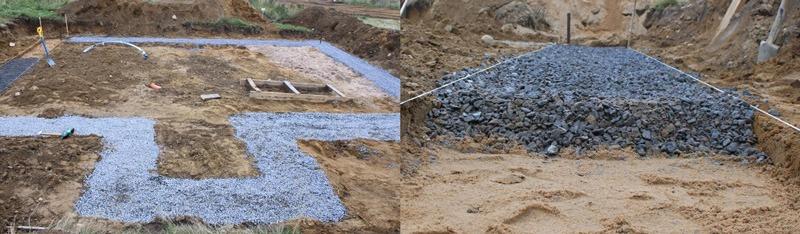 Плодородный слой снимается и в траншею под несущие стены укладывается песок и щебень слоями по 20см