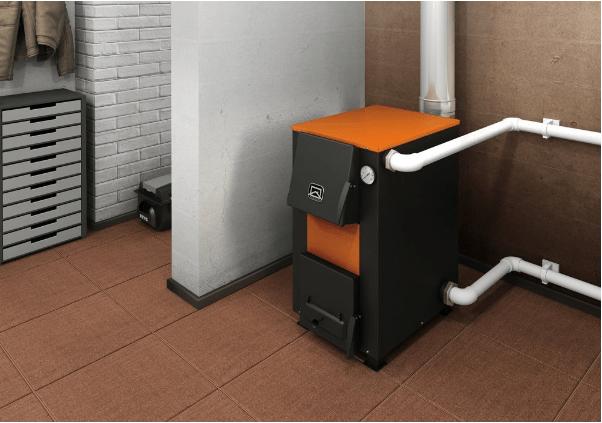 Современный твердотопливный котёл отопления в интерьере